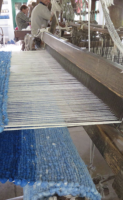 blue woven rugs