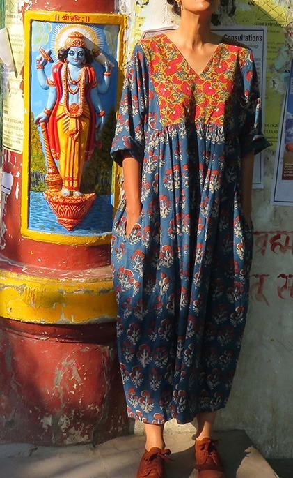 indigo cotton block print dress