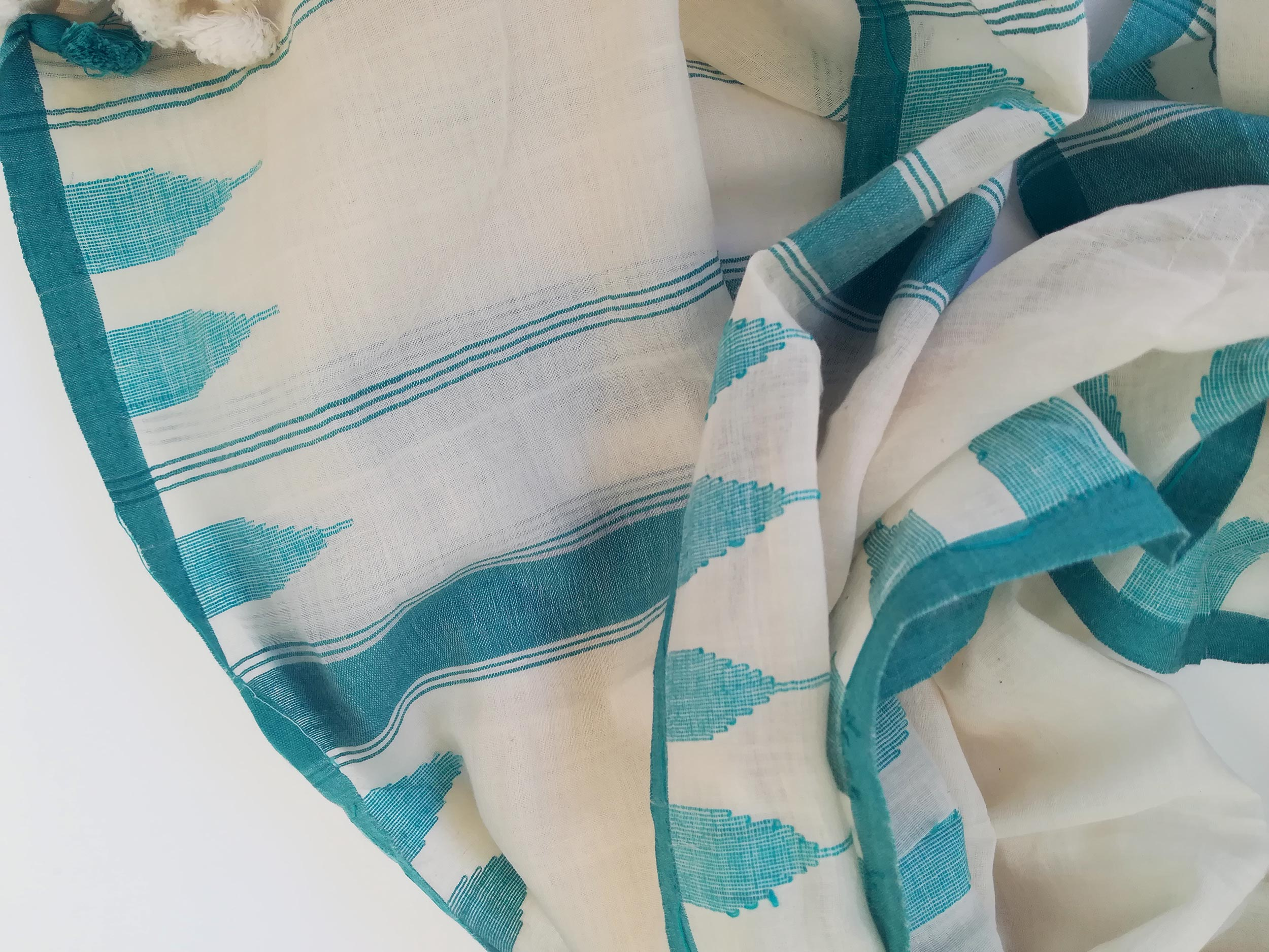 Turquoise Handwoven Cotton Scarf