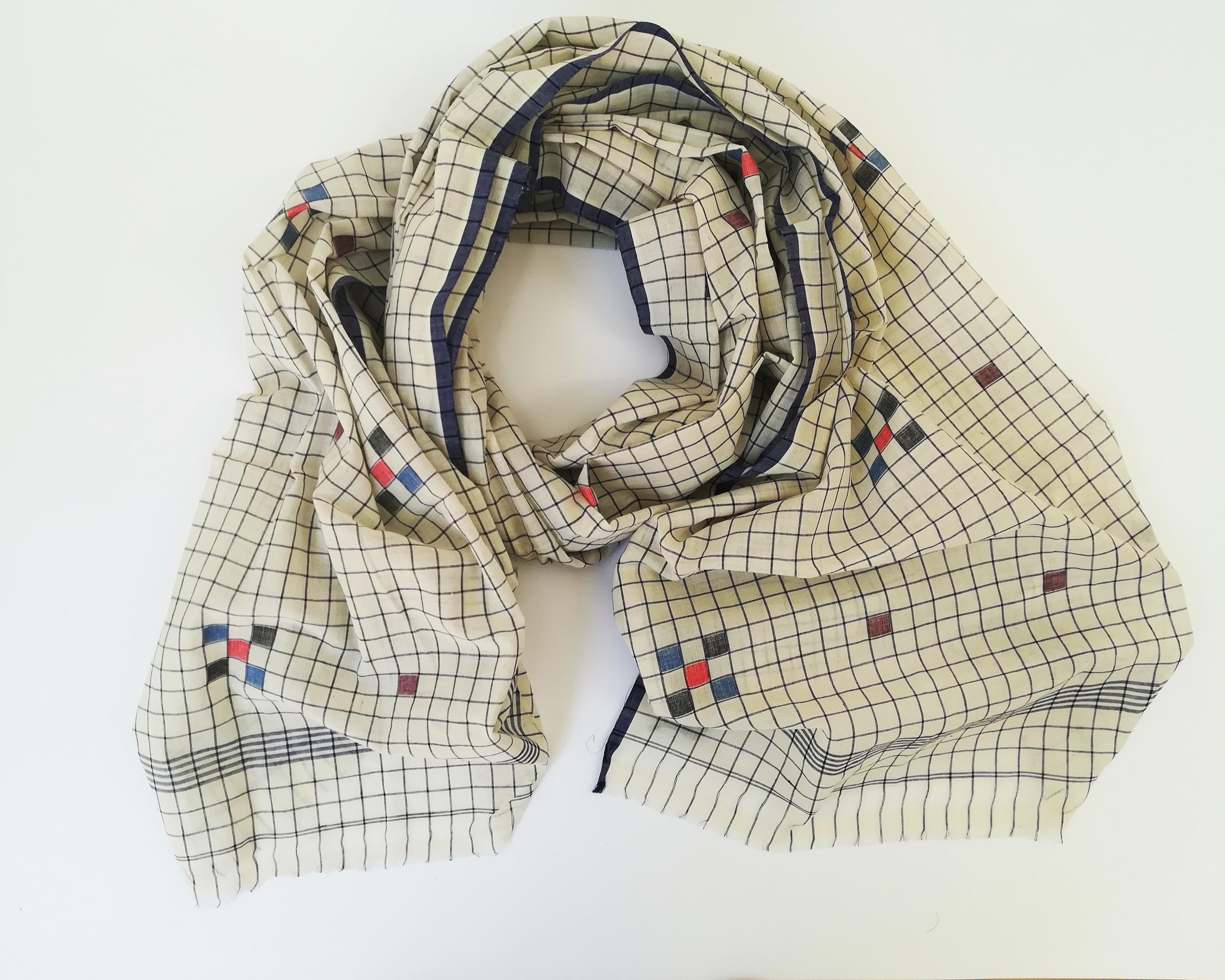 gauzy check scarf