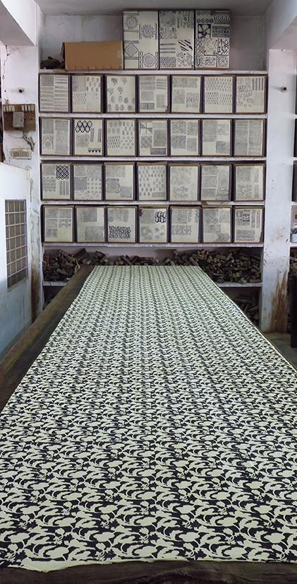 hand block printing fabric table