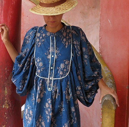 indigo block printed cotton blouse