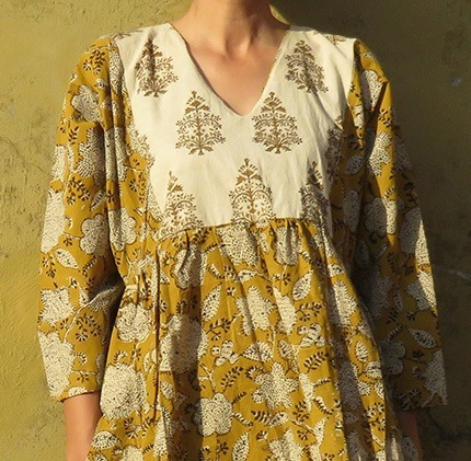 yellow block print dress