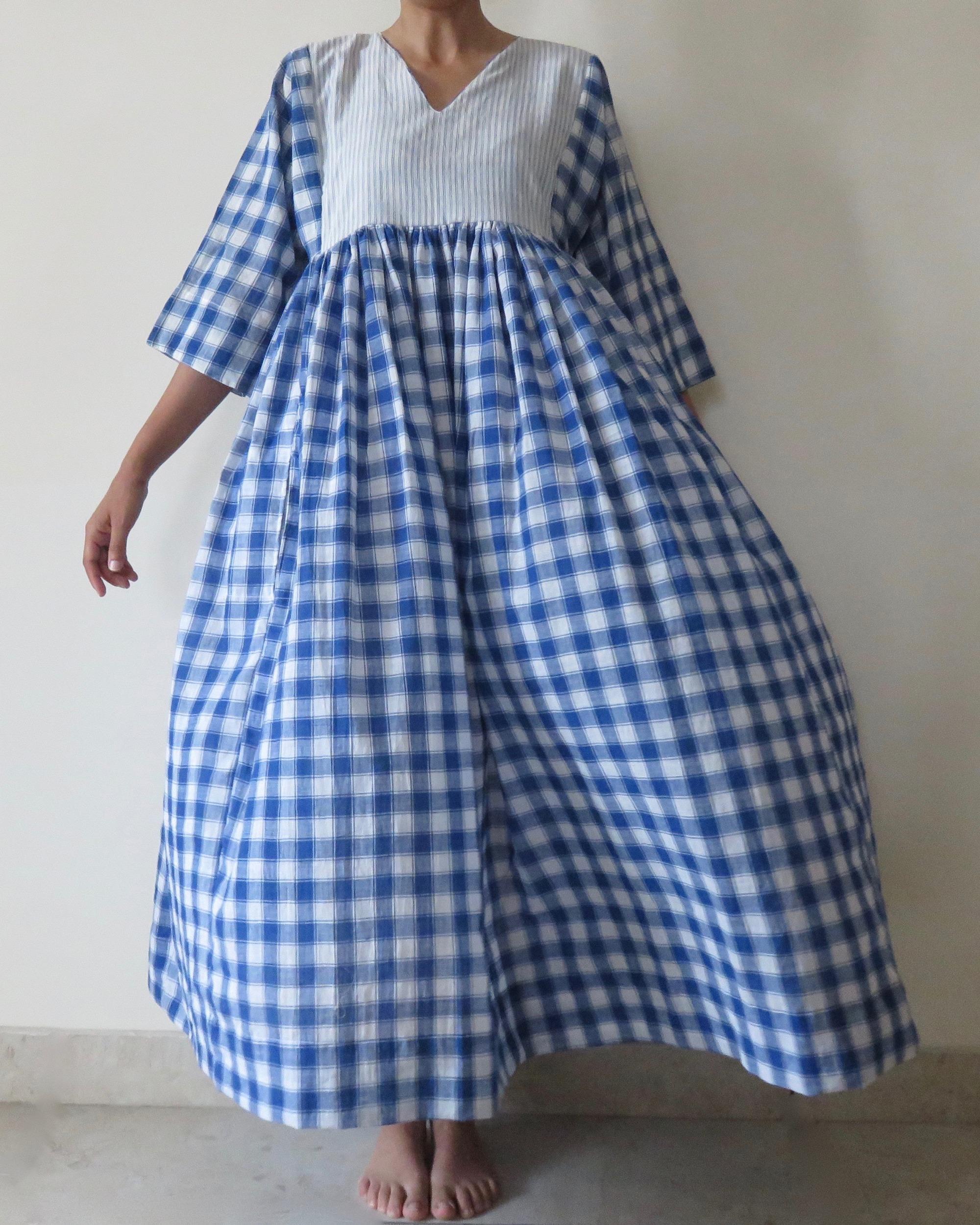 cotton check panel dress folk