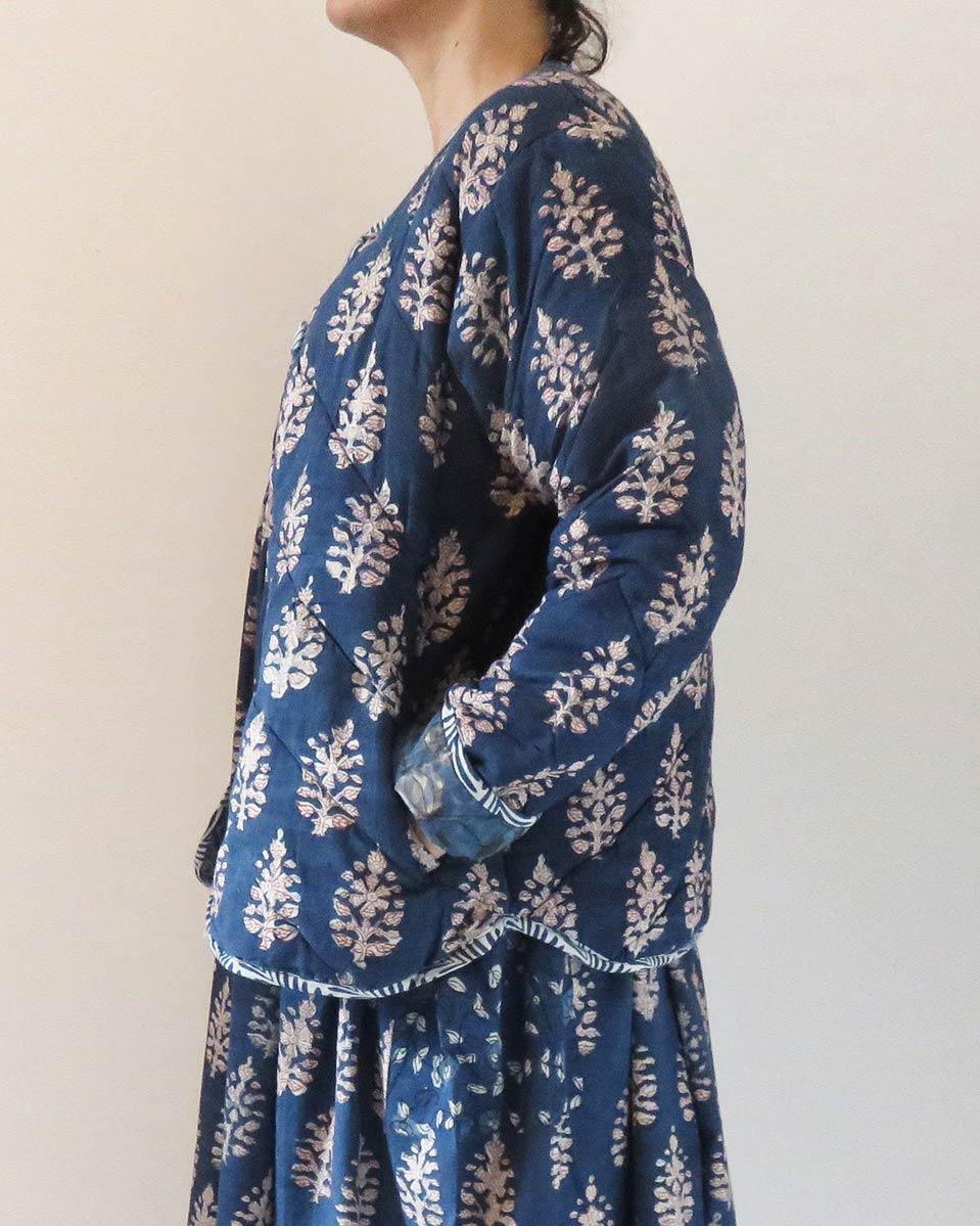 quilted jacket indigo block print
